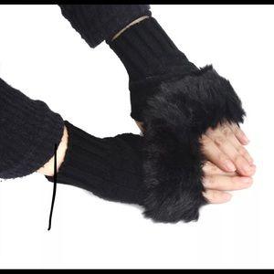Faux Rabbit Fur Fingerless Mittens
